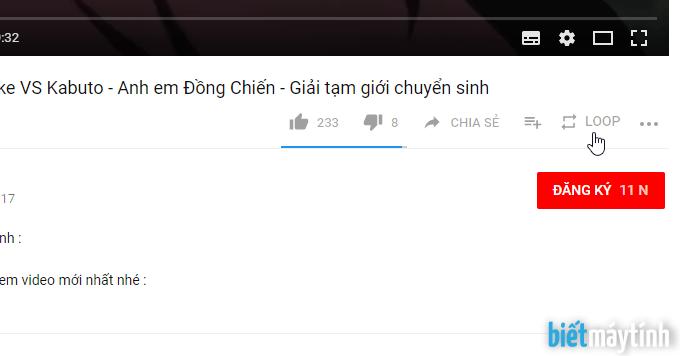 cách lặp lại 1 đoạn video trên youtube