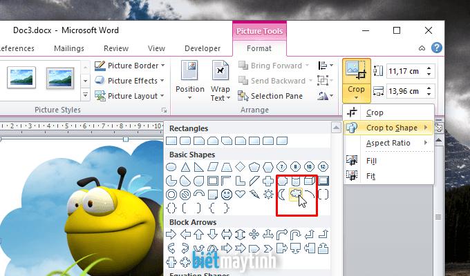 Cách cắt ảnh trong Word