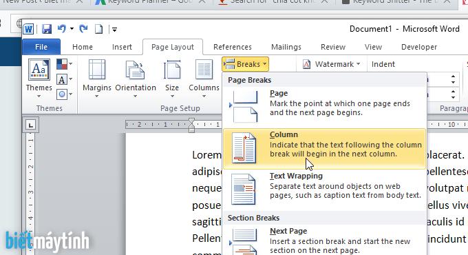 Cách chia cột trong văn bản word