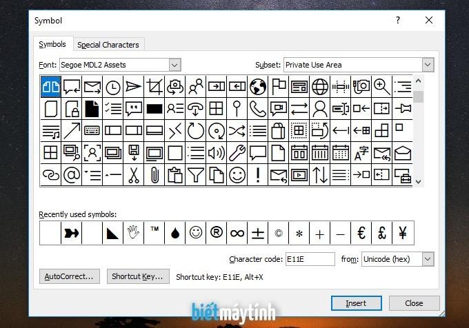 Cách chèn ký tự đặc biệt trong Word, PowerPoint, Excel