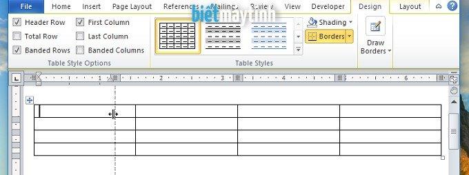 chỉnh kích thước cột, hang, bảng trong word