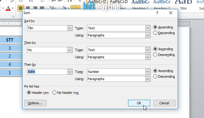 Sắp xếp dữ liệu trong bảng Word chi tiết