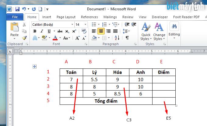 tính toán trong bảng dữ liệu của word