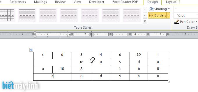xóa đường viền của bảng trong word