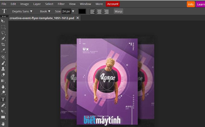 Cách mở file psd online bằng Photoshop CS6 online