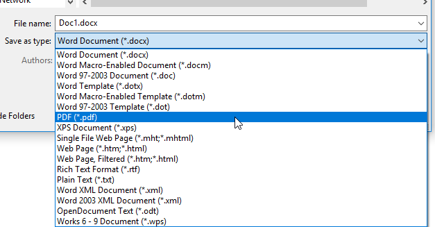 Chuyển từ file Word sang PDF trong Word 2010, 2013, 2016