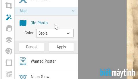 Tạo ảnh củ bằng phần mềm chỉnh sửa ảnh online